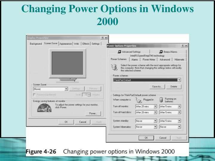 Changing Power Options in Windows 2000