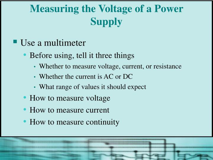 Measuring the Voltage of a Power Supply