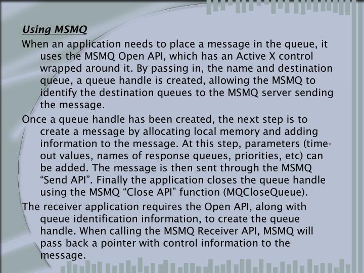 Using MSMQ