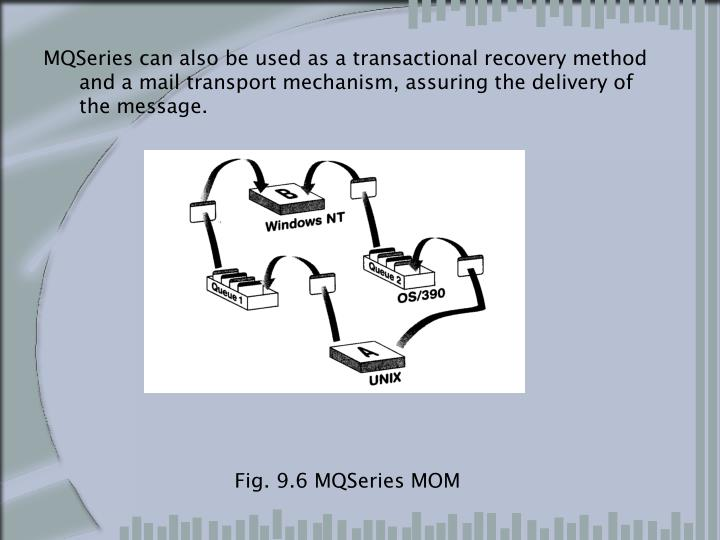 MQSeries can also be used as a transactional recovery method and a mail transport mechanism, assuring the delivery of the message.