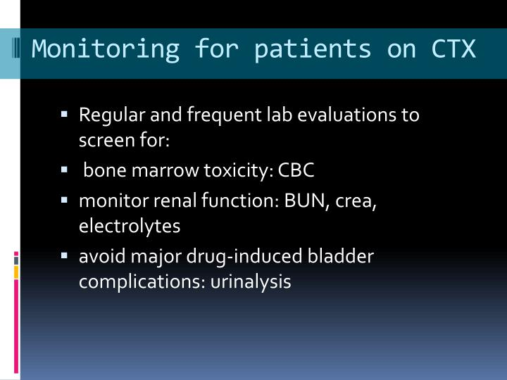 Monitoring for patients on CTX