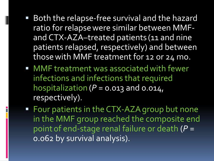 Both the relapse-free survival and the hazard ratio for relapse