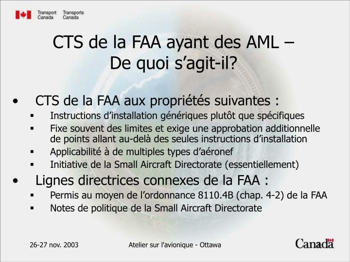 CTS de la FAA aux propriétés suivantes :