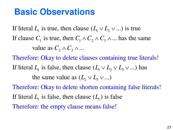 Basic Observations
