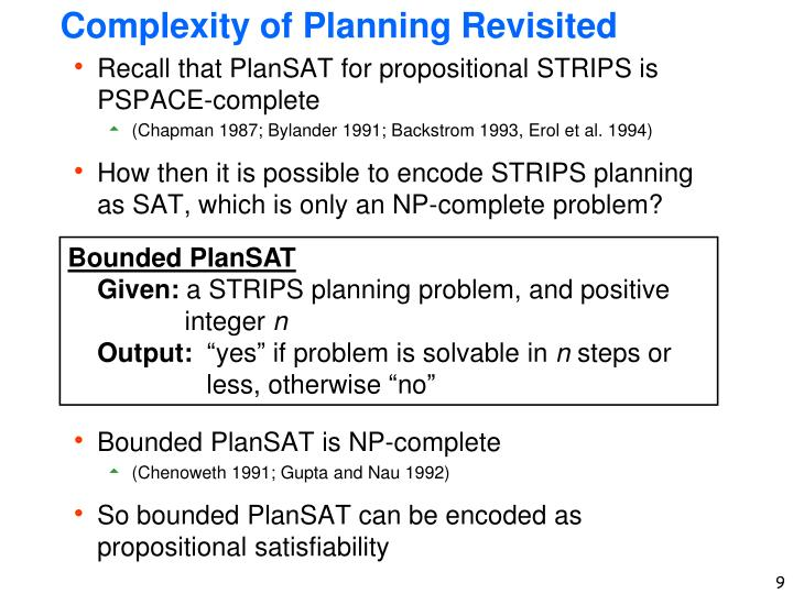 Complexity of Planning Revisited