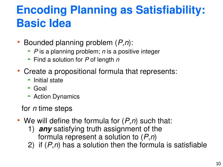Encoding Planning as Satisfiability: Basic Idea