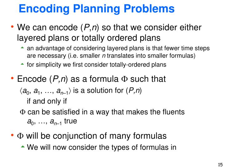 Encoding Planning Problems