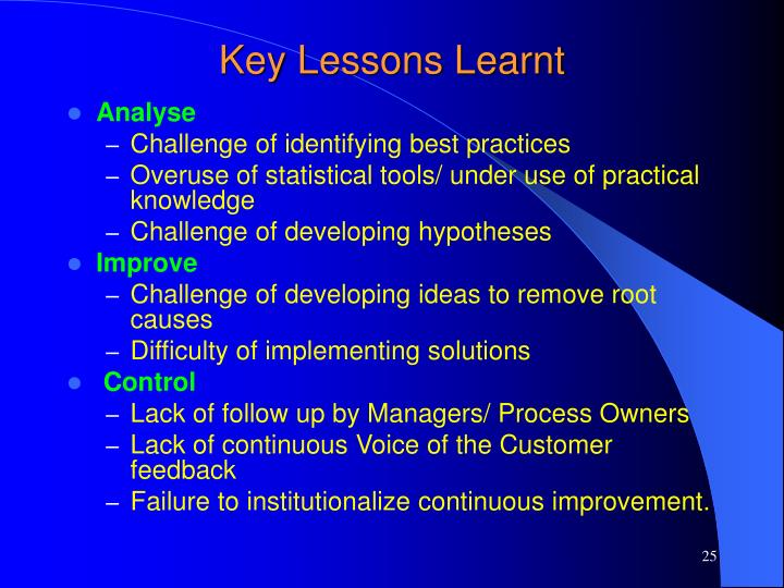 Key Lessons Learnt