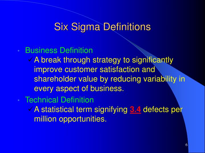 Six Sigma Definitions