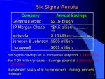 six sigma results