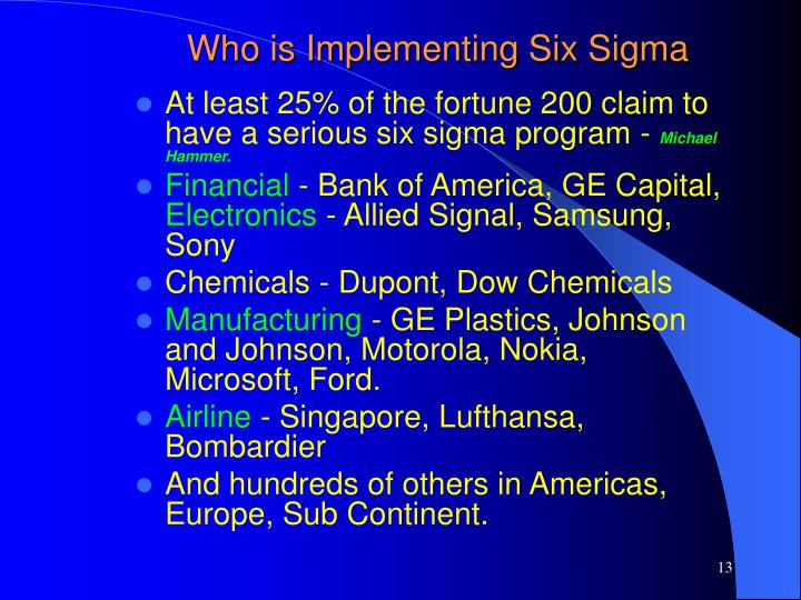 Who is Implementing Six Sigma