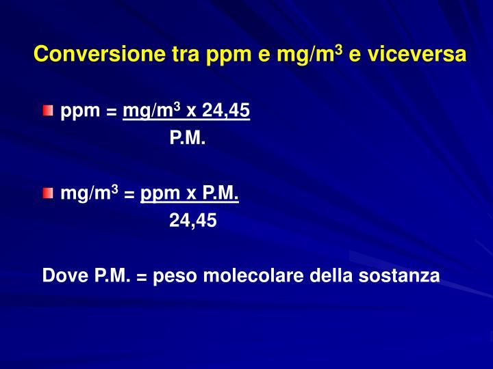 Conversione tra ppm e mg/m