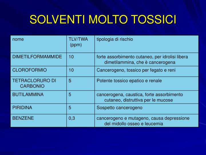 SOLVENTI MOLTO TOSSICI