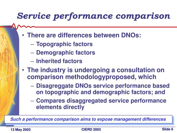 Service performance comparison