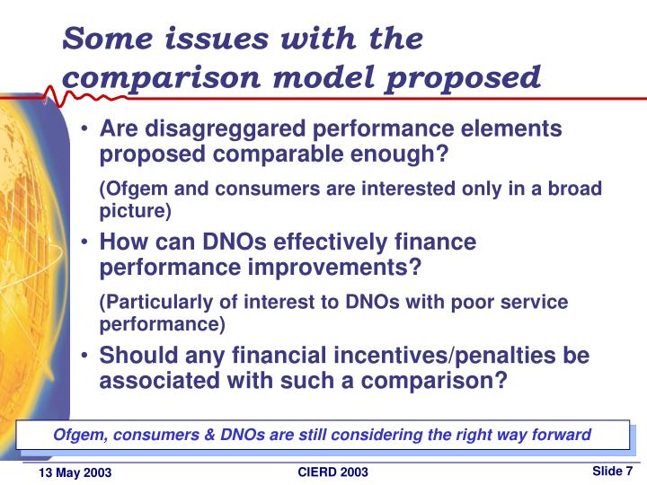 Some issues with the comparison model proposed