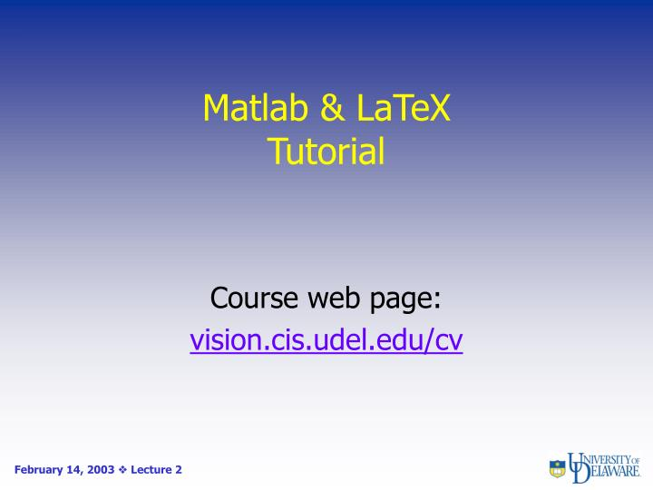 Matlab latex tutorial