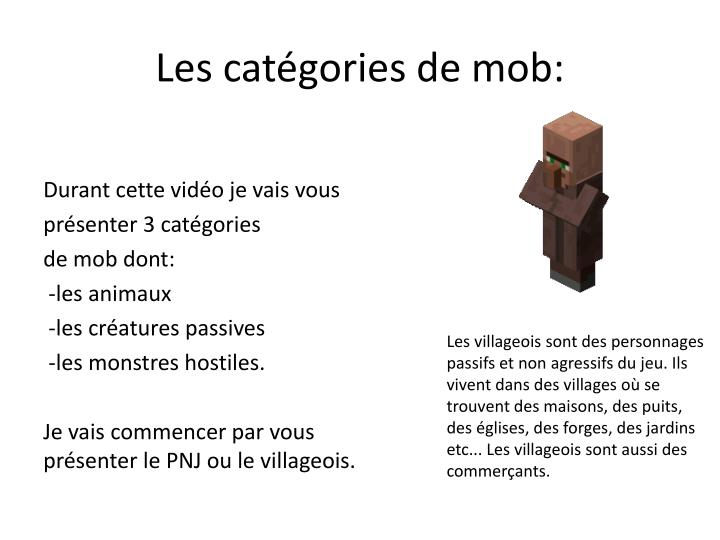 Les cat gories de mob