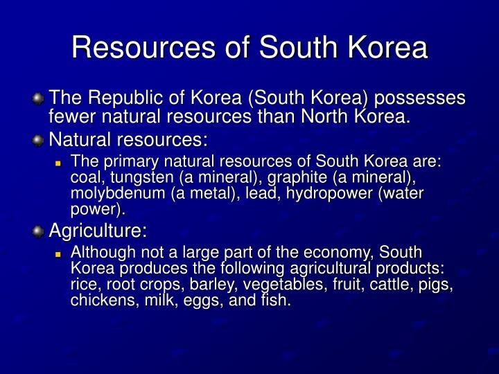 Resources of South Korea