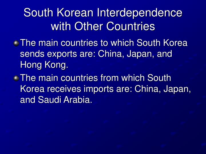 South Korean Interdependence with Other Countries