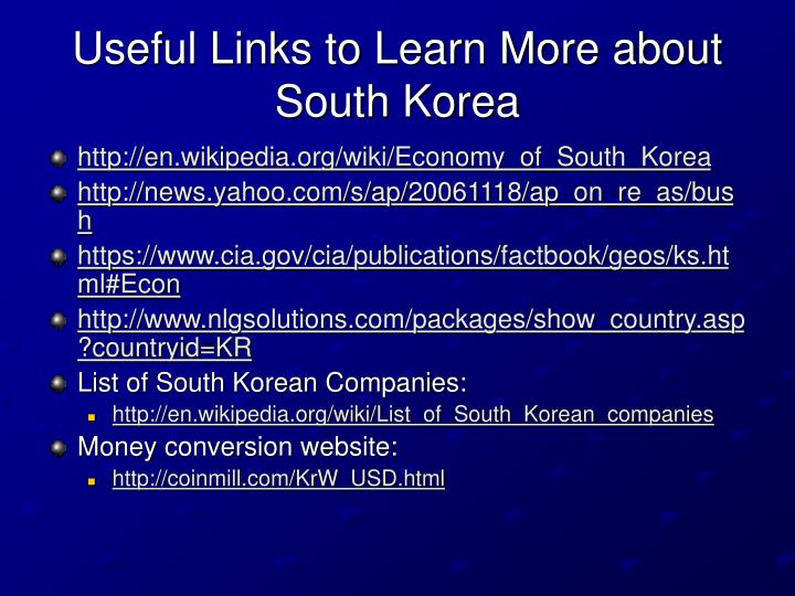 Useful Links to Learn More about South Korea