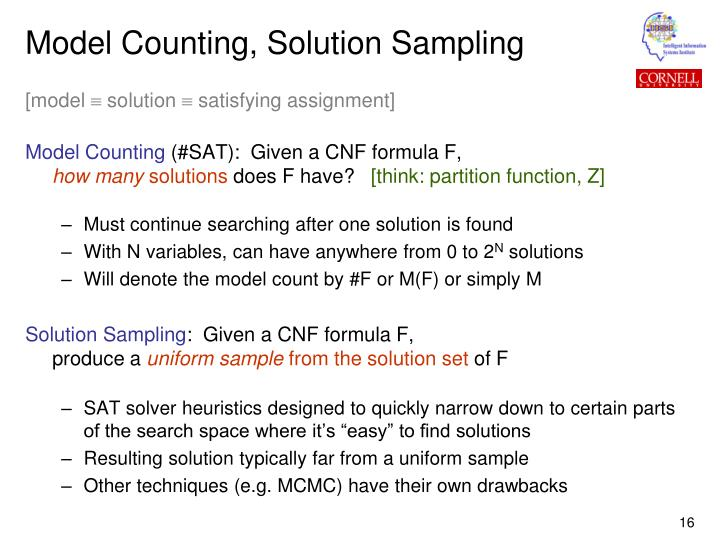 Model Counting, Solution Sampling