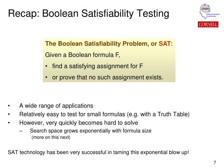 Recap: Boolean Satisfiability Testing