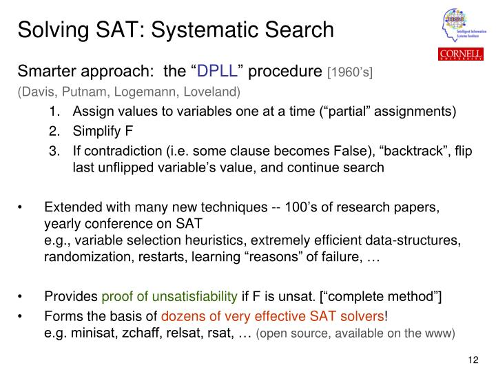 Solving SAT: Systematic Search