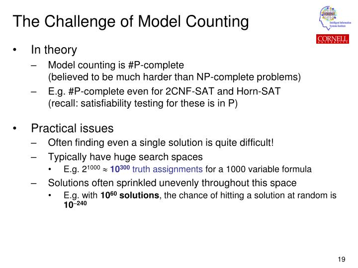 The Challenge of Model Counting