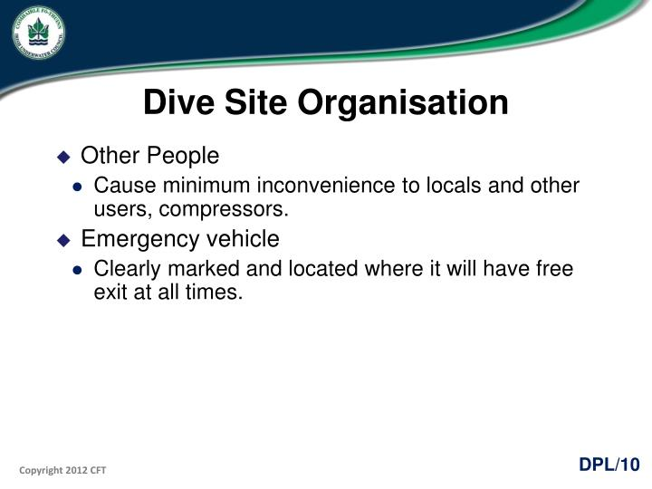 Dive Site Organisation