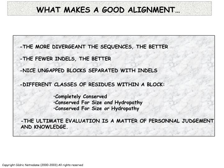 WHAT MAKES A GOOD ALIGNMENT…