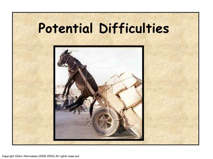 Potential Difficulties