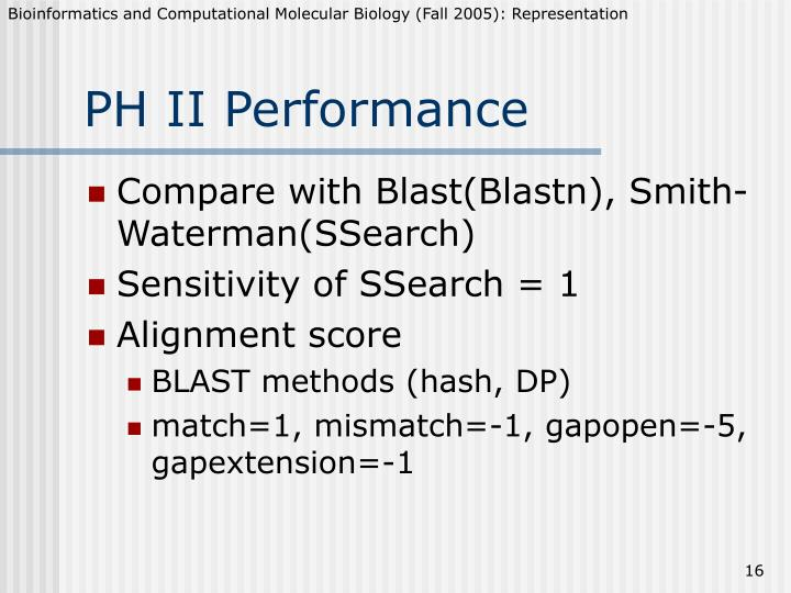PH II Performance