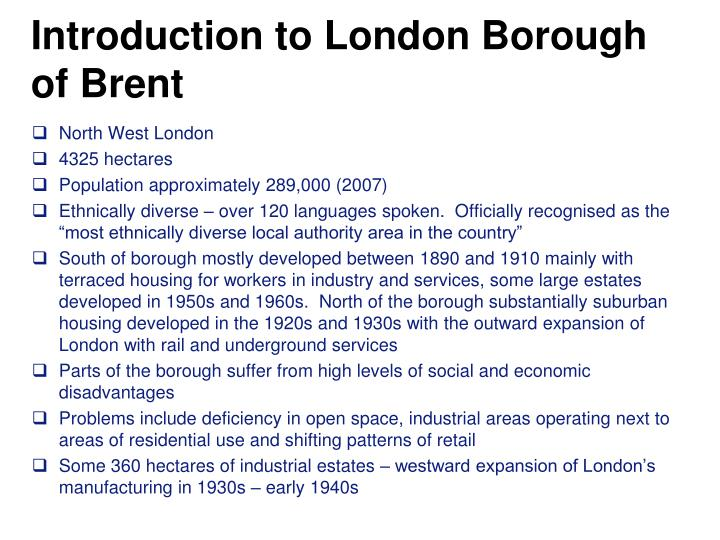Introduction to London Borough of Brent