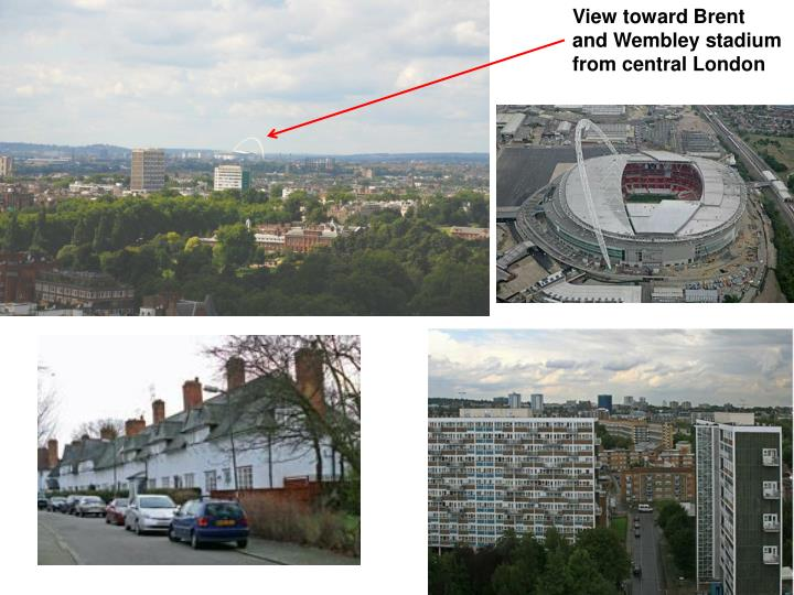 View toward Brent and Wembley stadium from central London
