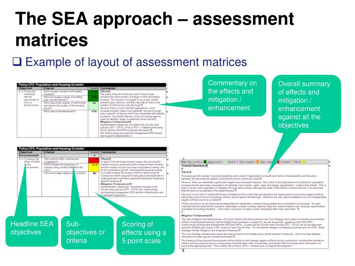 The SEA approach – assessment matrices