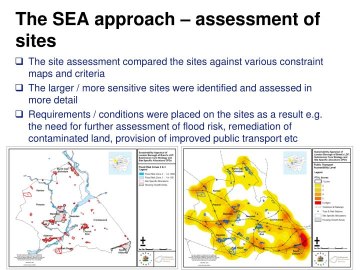 The SEA approach – assessment of sites