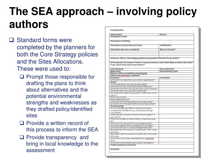 The SEA approach – involving policy authors