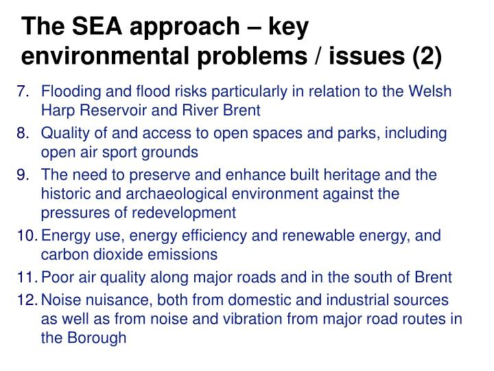 The SEA approach – key environmental problems / issues (2)