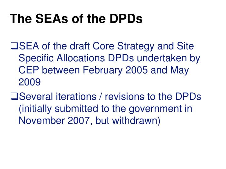 The SEAs of the DPDs