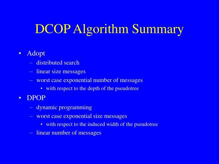 DCOP Algorithm Summary