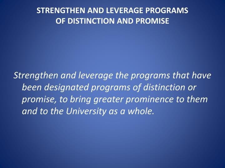 Strengthen and leverage programs of distinction and promise