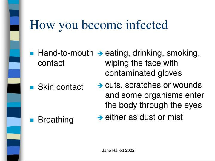 eating, drinking, smoking, wiping the face with contaminated gloves