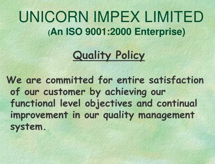Unicorn impex limited an iso 9001 2000 enterprise2