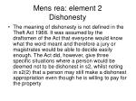 mens rea element 2 dishonesty
