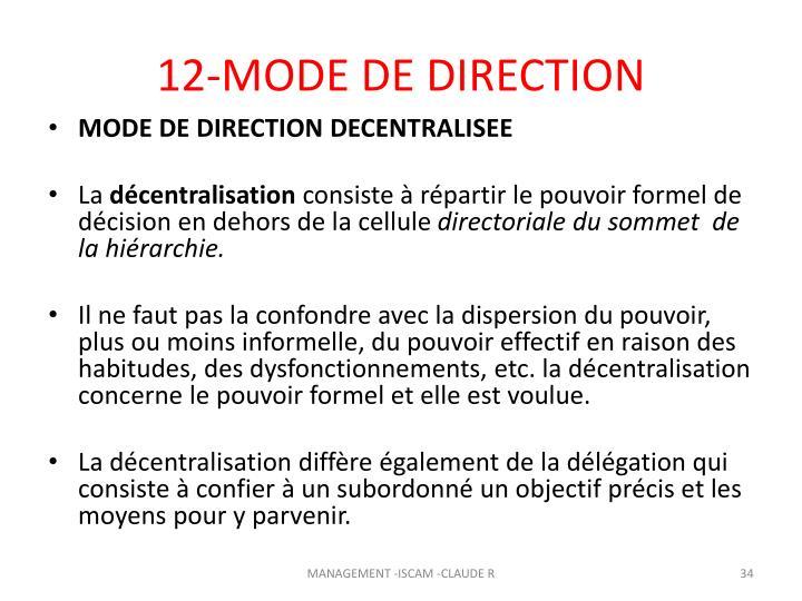 12-MODE DE DIRECTION
