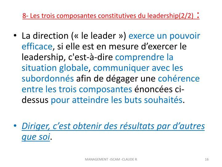 8- Les trois composantes constitutives du leadership(2/2)