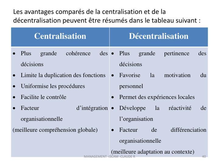 Les avantages comparés de la centralisation et de la décentralisation peuvent être résumés dans le tableau suivant: