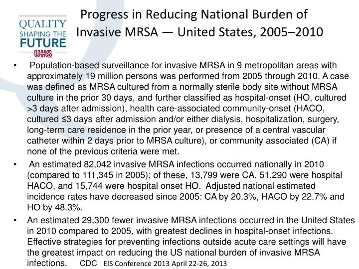 Progress in Reducing National Burden of Invasive MRSA — United States, 2005–2010