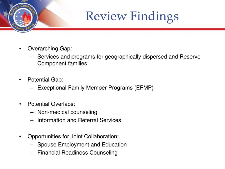 Review findings