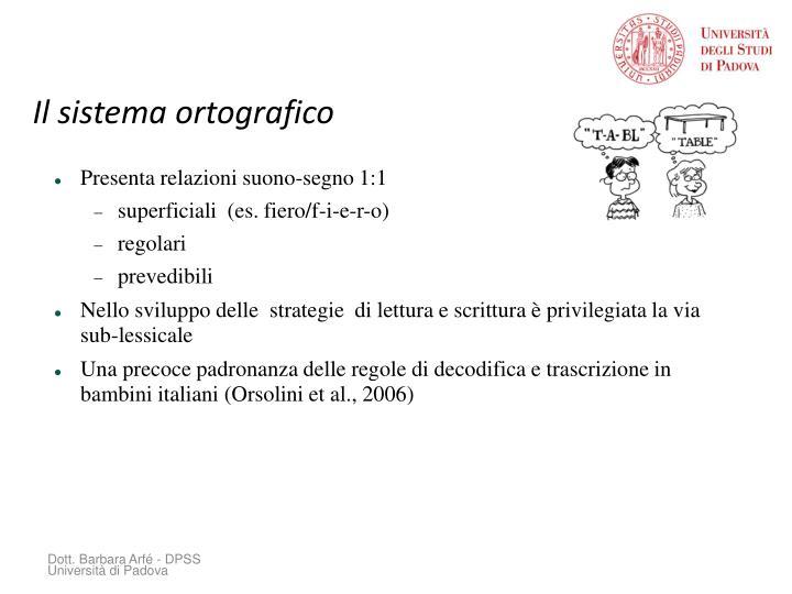 Il sistema ortografico